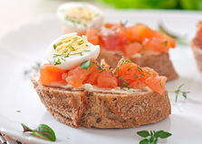Sandwich with salted salmon and cream cheese. Stock Photography