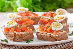 Sandwich with salted salmon and cream cheese. Stock Photo