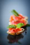 Sandwich with salted salmon Stock Photo