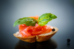 Sandwich with salted salmon Stock Image