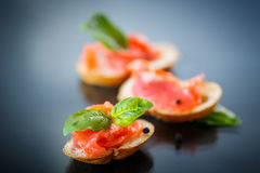Sandwich with salted salmon Royalty Free Stock Images