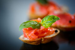 Sandwich with salted salmon Stock Photography