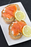 Sandwich with salted salmon Royalty Free Stock Photo