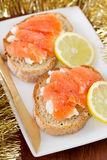 Sandwich with salted salmon Royalty Free Stock Image