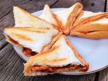 Sandwich. Es sweet dried pork on plate Royalty Free Stock Images