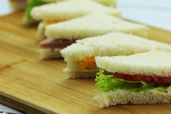 Sandwich. Es with vegetables and ham royalty free stock photo