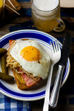 Sandwich with sauerkraut , ham and fried eggs Royalty Free Stock Photography
