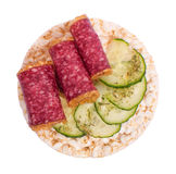 Sandwich with sausage and cucumber Stock Image