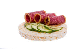 Sandwich with sausage and cucumber Royalty Free Stock Photo