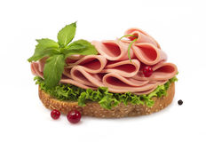 Sandwich with sausage and greens Royalty Free Stock Photo