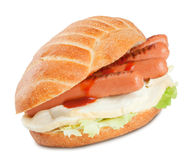 Sandwich with sausage ketchup salad and mozzarella cheese Stock Images