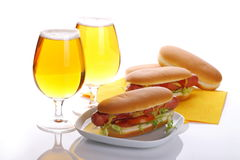 Sandwich with sausage and lager Stock Image