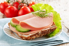 Sandwich with sausage slices Royalty Free Stock Photos