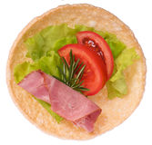Sandwich with sausage and tomato Royalty Free Stock Photos
