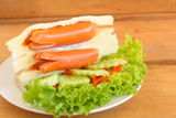 Sandwich with sausage Royalty Free Stock Photography