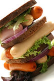 Sandwich with sausages Royalty Free Stock Photos