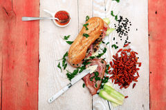 Sandwich with savory fillings Stock Image