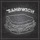 Sandwich scetch on a black board Stock Images