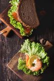 Sandwich with seafood Royalty Free Stock Images