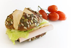 Sandwich with seeds. Sandwich filled with cheese and lunchmeat tomatoes in background stock image
