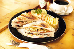 Sandwich served with coffee Royalty Free Stock Photos