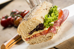 Sandwich with sesame seeds and salad royalty free stock photos