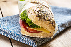 Sandwich with sesame seeds royalty free stock photos