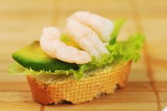 Sandwich  with shrimps Royalty Free Stock Photos