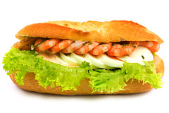 Sandwich with shrimps Stock Photos