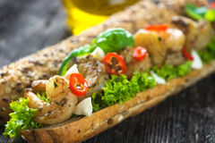 Sandwich with shrimps Royalty Free Stock Images