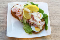 Sandwich with shrimps and egg in Iceland. Sandwich with shrimps and egg in  Iceland Royalty Free Stock Photo