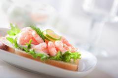 Sandwich with shrimps Royalty Free Stock Photography