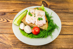 Sandwich with slice of rye bread, fresh pork lard and parsley, fresh produce, tomato in the plate on wooden table. Stock Photos