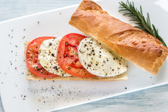 Sandwich with sliced fresh tomatoes and mozzarella Royalty Free Stock Images