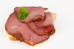 Sandwich with sliced roast beef. Bread with sliced roast beef royalty free stock photography