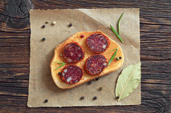Sandwich with sliced salami Stock Images