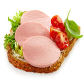 Sandwich with sliced sausage Stock Image