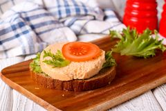 Sandwich with sliced vegetarian sausage Stock Photos
