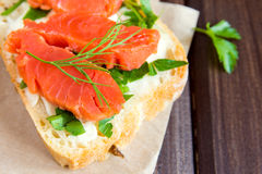 Sandwich with smoke salmon Stock Images