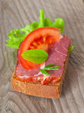 Sandwich with  smoked bacon Royalty Free Stock Image