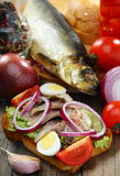 Sandwich with smoked herring. Royalty Free Stock Image