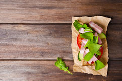Sandwich with smoked meat Stock Image