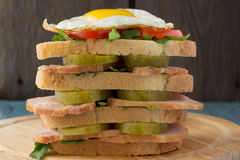 Sandwich with smoked pork, pickles, tomato and fried egg Royalty Free Stock Photo