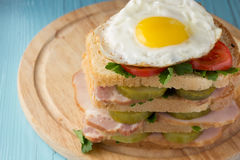 Sandwich with smoked pork, pickles, tomato and fried egg Royalty Free Stock Images