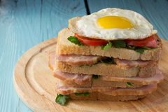 Sandwich with smoked pork, tomato and fried egg Stock Images