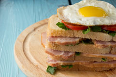 Sandwich with smoked pork, tomato and fried egg Royalty Free Stock Images