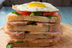 Sandwich with smoked pork, tomato and fried egg Stock Photo