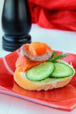 Sandwich with smoked salmon Stock Image