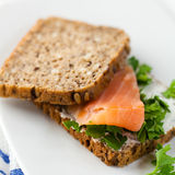 Sandwich with smoked salmon Stock Images