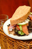Sandwich with smoked salmon Stock Photo
